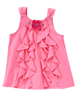 Whimsical Pink Ruffle Tank Top by Gymboree