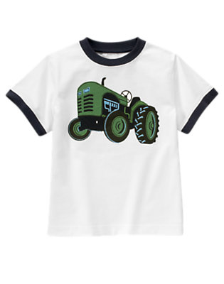 Boys White Tractor Tee by Gymboree