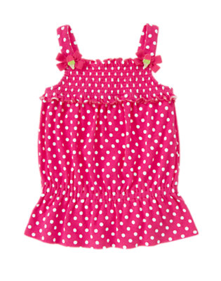 Dahlia Pink Dot Bow Smocked Polka Dot Tank by Gymboree