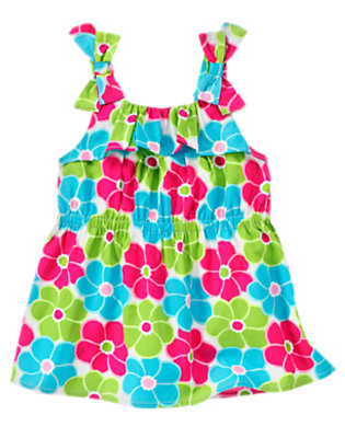 Lime Blossom Bow Ruffle Flower Top by Gymboree