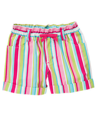 Toddler Girls Lime Stripe Bow Cuff Stripe Short by Gymboree