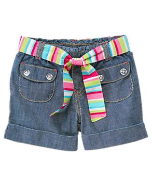 Girls Chambray Belted Chambray Short by Gymboree