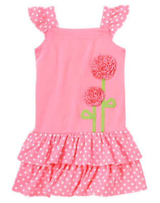 Ice Cream Pink Ruffle Flower Polka Dot Dress by Gymboree