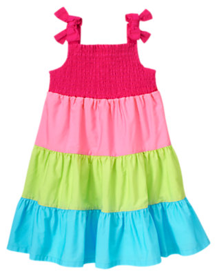 Baby Dahlia Pink Smocked Colorblock Dress by Gymboree