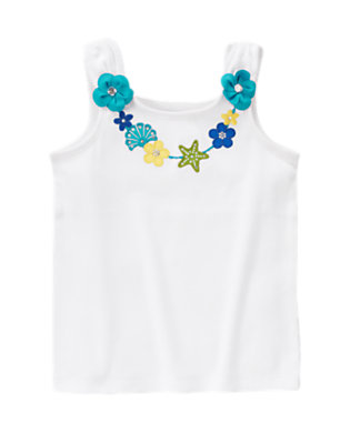 White Tropical Beach Necklace Tank Top by Gymboree