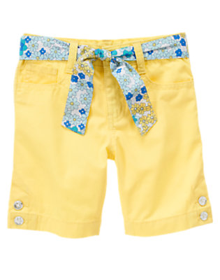 Girls Sunshine Yellow Floral Belted Gem Button Short by Gymboree
