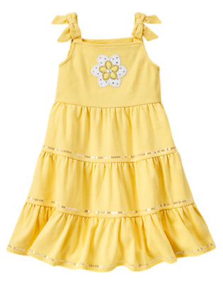 Girls Sunshine Yellow Blossom Sequin Tiered Sundress by Gymboree