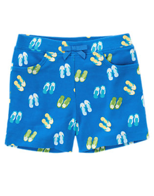 Girls Starfish Blue Bow Flip Flop Short by Gymboree
