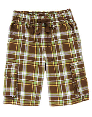 Chocolate Brown Plaid Pull-On Plaid Cargo Short by Gymboree