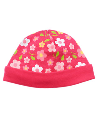 Baby Raspberry Floral Floral Beanie by Gymboree