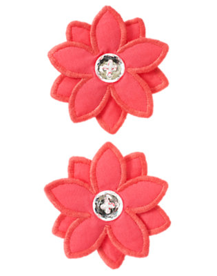 Toddler Girls Guava Pink Gem Flower Hair Clips Two-Pack by Gymboree