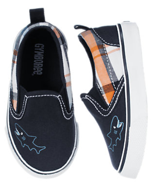 Toddler Boys Deep Sea Navy Plaid Slip-On Sneaker by Gymboree