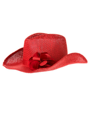 Girls Apple Red Flower Straw Cowgirl Hat by Gymboree