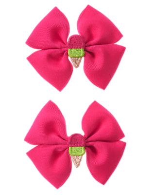 Girls Dahlia Pink Ice Cream Cone Bow Hair Clip Two-Pack by Gymboree