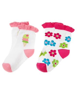 Toddler Girls White Ice Cream Cone Flower Socks Two-Pack by Gymboree