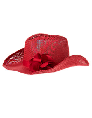 Toddler Girls Apple Red Flower Straw Cowgirl Hat by Gymboree