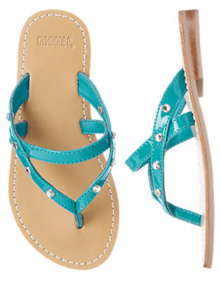 Girls Scuba Blue Gem Patent Sandal by Gymboree