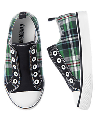 Summer Green Plaid Plaid Slip-On Sneakers by Gymboree