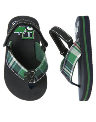 Toddler Boys Summer Green Plaid Tractor Plaid Flip Flop by Gymboree