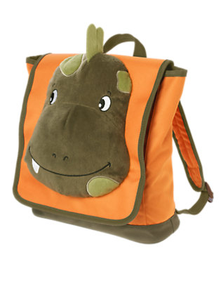 Bright Orange Plush Dino Backpack by Gymboree
