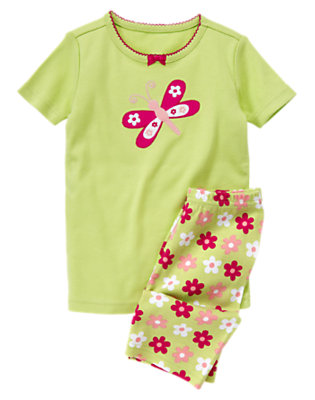 Toddler Girls Butterfly Green Butterfly Shortie Two-Piece Gymmies® by Gymboree