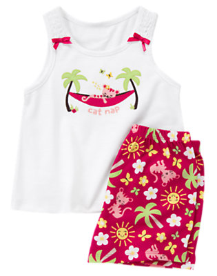 White Cat Nap Shortie Two-Piece Pajama Set by Gymboree
