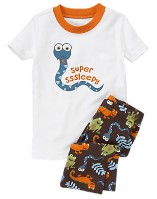 Boys White Snake Shortie Two-Piece Gymmies® by Gymboree