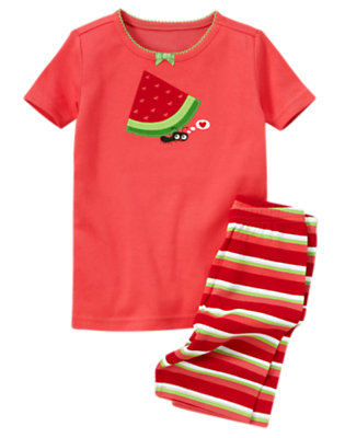 Girls Watermelon Red Watermelon Ant Shortie Two-Piece Gymmies® by Gymboree