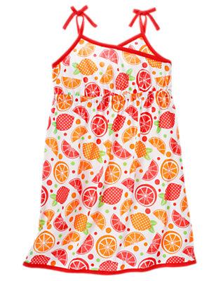 White Fruit Fruit Pajama Gown by Gymboree