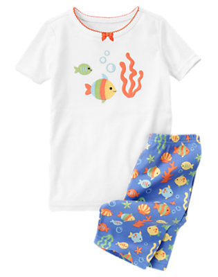 Girls White Fish Friends Shortie Two-Piece Gymmies® by Gymboree