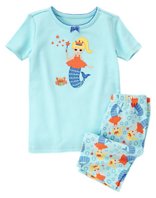 Powder Blue Mermaid Shortie Two-Piece Gymmies® by Gymboree