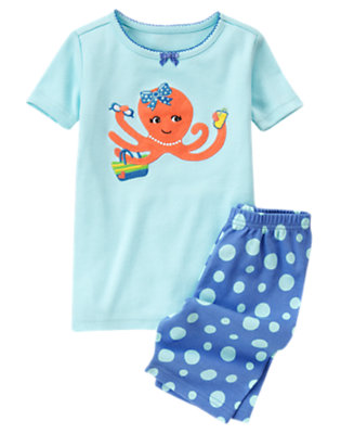 Girls Powder Blue Octopus Shortie Two-Piece Gymmies® by Gymboree