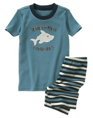Toddler Boys Shark Blue Here Comes Trouble Shortie Two-Piece Gymmies® by Gymboree