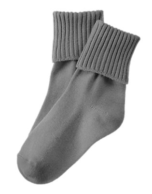 Boys Heather Grey Foldover Socks by Gymboree