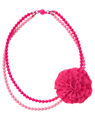 Dahlia Pink Ruffle Corsage Bead Necklace by Gymboree