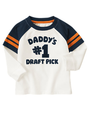 Ivory Daddy's #1 Draft Pick Double Sleeve Tee by Gymboree