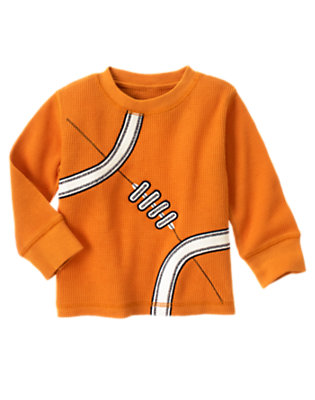 Pumpkin Orange Football Thermal Tee by Gymboree