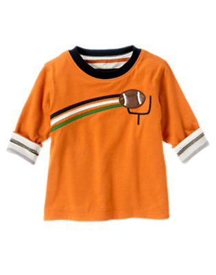 Pumpkin Orange Football Goal Stripe Reversible Tee by Gymboree