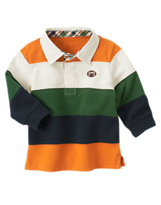 Pumpkin Orange Football Stripe Rugby Shirt by Gymboree