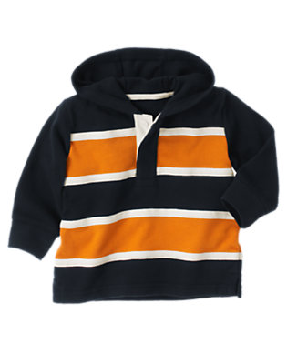 Toddler Boys Gym Navy Twill Tape Stripe Hoodie by Gymboree