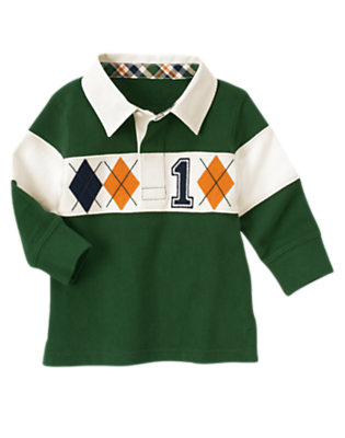 Forest Green Argyle Rugby Shirt by Gymboree