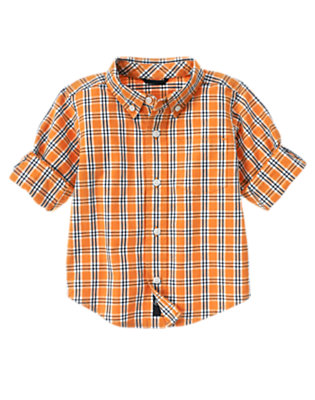 Pumpkin Orange Plaid Pumpkin Orange Plaid Shirt by Gymboree