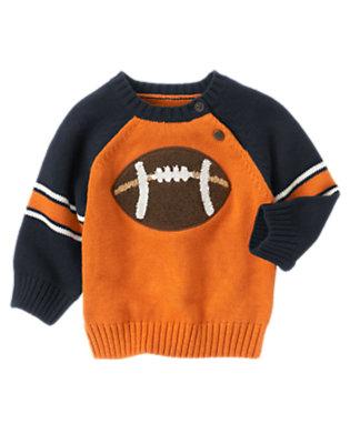 Toddler Boys Pumpkin Orange Football Sweater by Gymboree