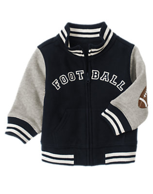 Gym Navy Football Fleece Varsity Jacket by Gymboree