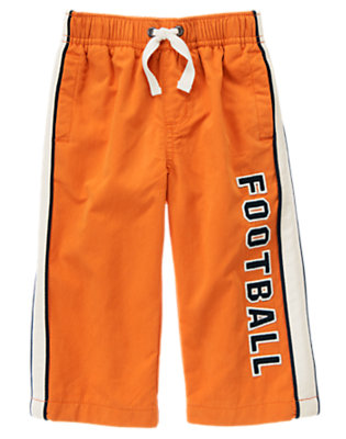 Pumpkin Orange Football Lined Active Pant by Gymboree
