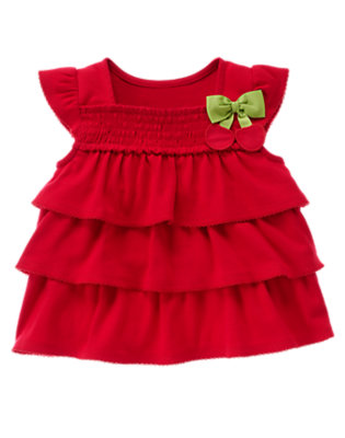 Cherry Red Cherry Bow Smocked Tiered Top by Gymboree
