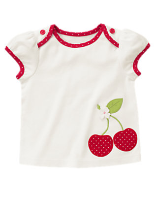 Ivory Button Cherry Tee by Gymboree