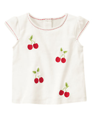 Ivory Pickstitched Cherry Tee by Gymboree