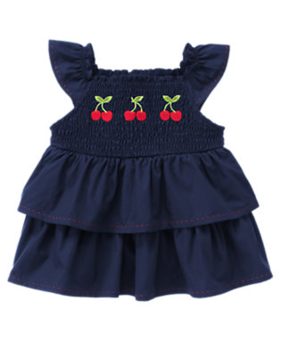 Navy Cherry Smocked Tiered Top by Gymboree