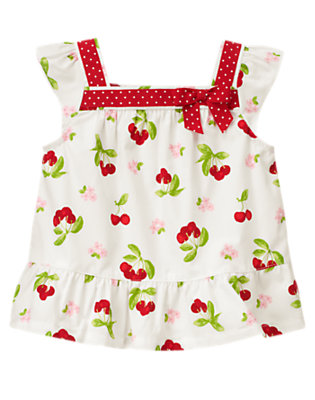 Ivory Cherry Dot Ribbon Cherry Swing Top by Gymboree